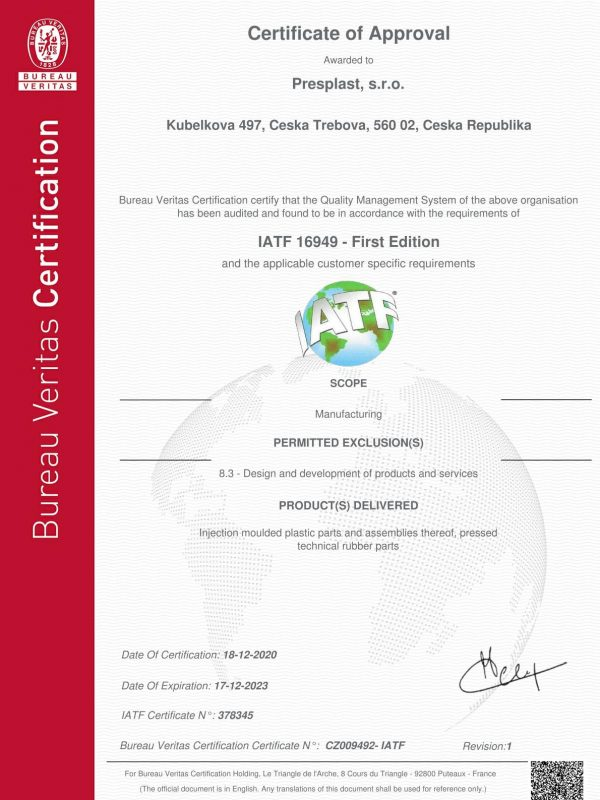 certificate - IATF - PRESPLAST - valid 2023